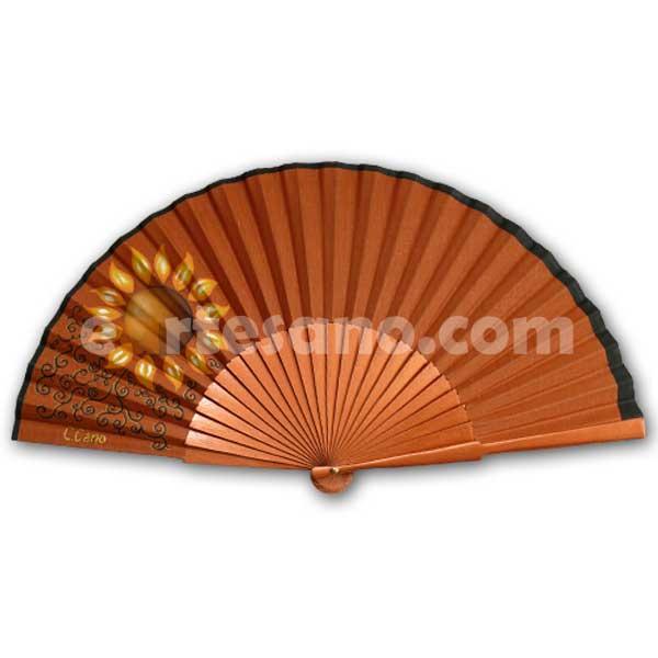 ABANICO PINTADO A MANO - Girasol en cobre