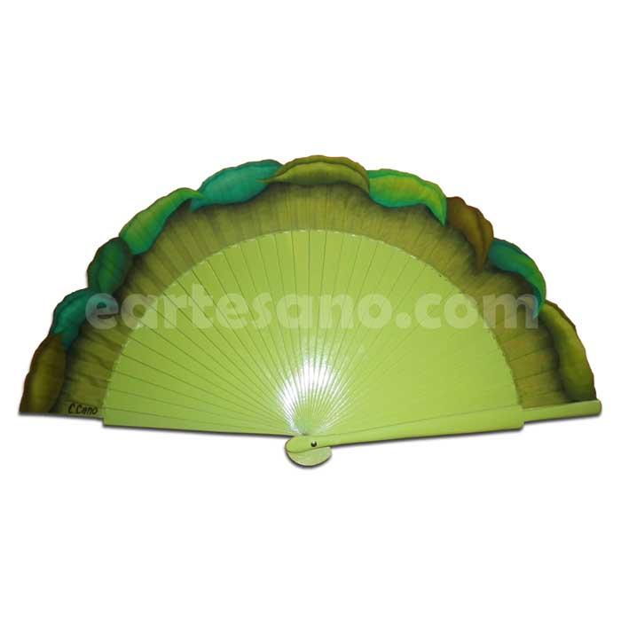 ABANICO PINTADO A MANO - Hojas en Verde