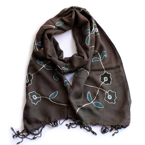 PASHMINA BORDADA A MANO, marrón con motivos florales